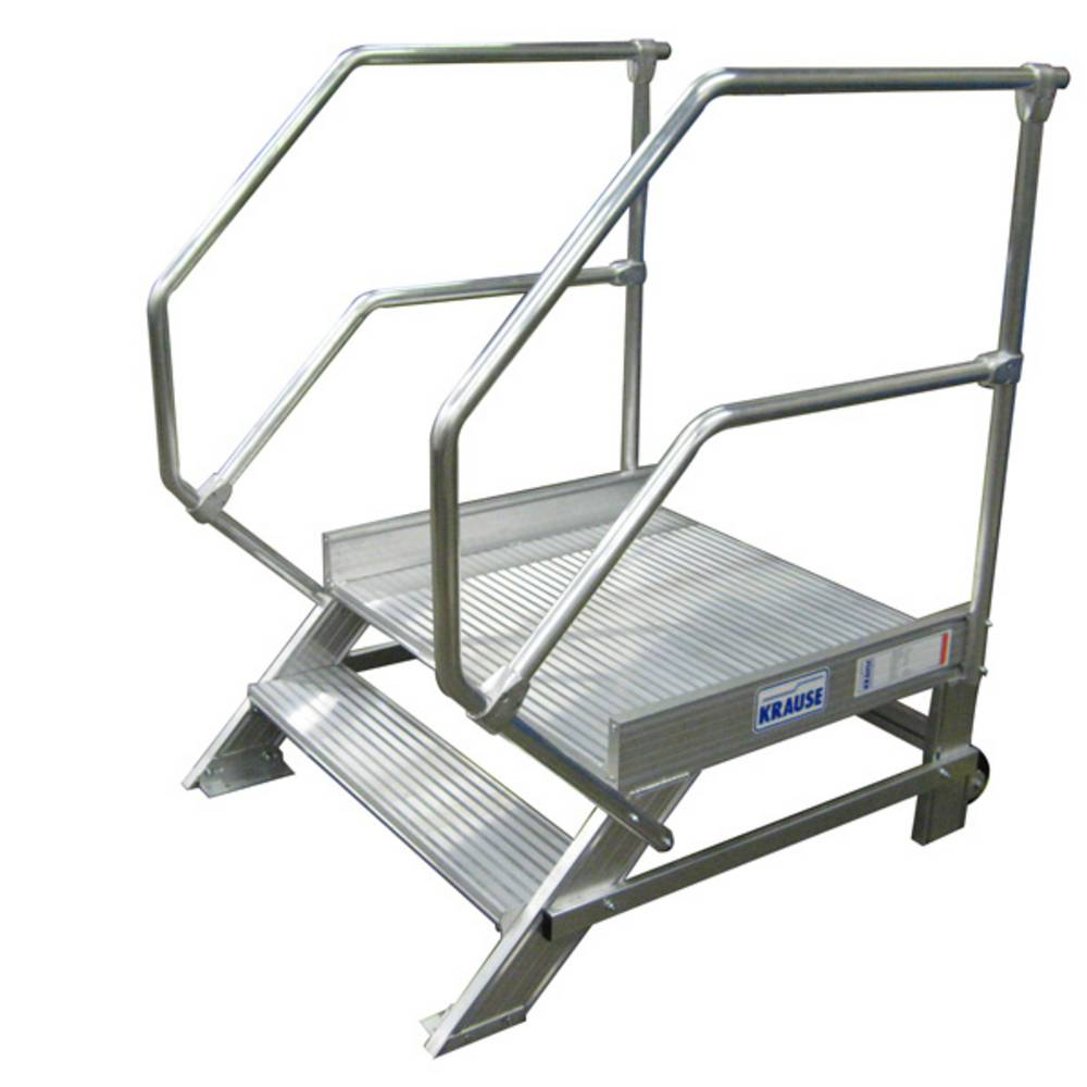 Przykład schodka aluminiowego KRAUSE z barierkami
