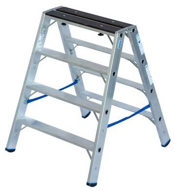 Profesjonalna wolnostojąca drabina aluminiowa do wykorzystania jako praktyczna drabina dwustronna lub niezwykle funkcjonalny podest roboczy.