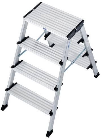 Wytrzymałe i kompaktowe aluminiowe schodki dwustronne do prac montażowych.