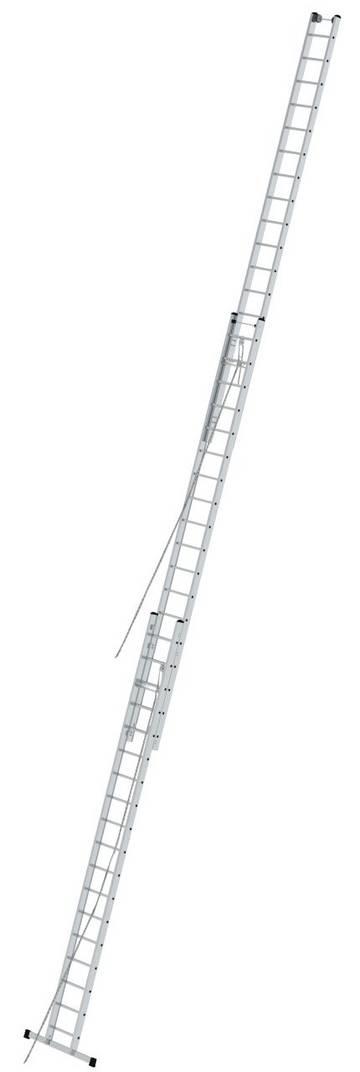 Drabina aluminiowa trzyelementowa rozsuwana do zastosowania przy dużych wysokościach, z rolkami przyściennymi i dwiema linkami ułatwiającymi zmianę wysokości.