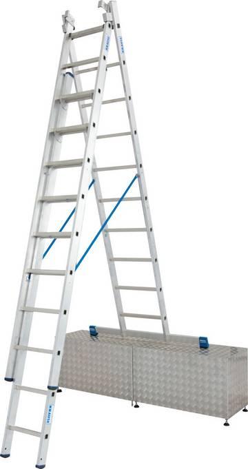 Trzyelementowa aluminiowa drabina wielofunkcyjna do profesjonalnego zastosowania jako drabina rozsuwana, przystawna oraz wolnostojąca z wysuwanym elementem.