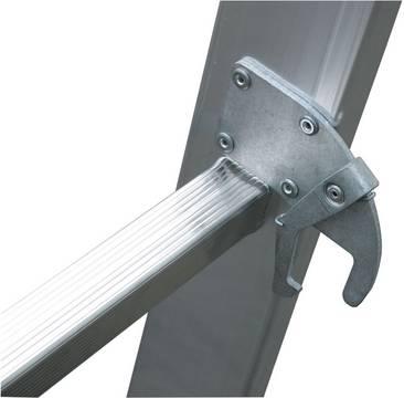 Drabina rozsuwana ze szczeblami, dwuelementowa - samozabezpieczające się zaczepy (system AutoSnap) zapobiegające rozsunięciu się drabiny dwuelementowej podczas transportu