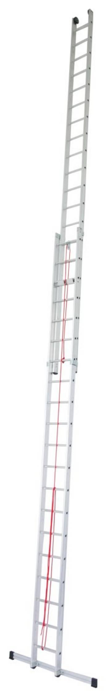 Rozsuwana linką dwuelementowa drabina przystawna  do profesjonalnego wykorzystania, z rolkami przyściennymi dla łatwej zmiany wysokości roboczej (maksymalna 13,10 m).