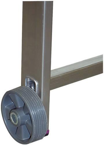 Zestaw rolek jezdnych skadający się z 4 rolek koloru szarego do rusztowania składanego CORDA i rusztowania składanego podwójnego.