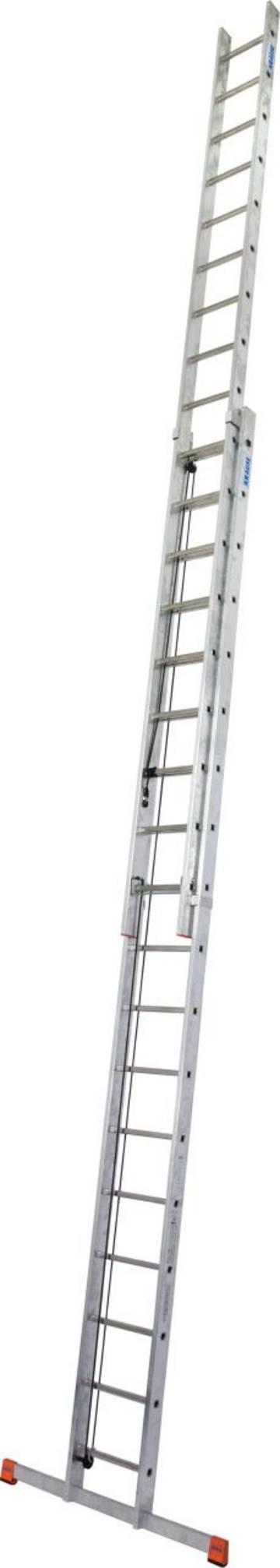 Lekka aluminiowa drabina dwuelementowa rozsuwana linką, pozwalająca na szybką i komfortową regulację wysokości roboczej.