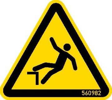 """Znak ostrzegawczy """"Niebezpiezeństwo upadku"""" zgodnie z ISO 7010 W008."""
