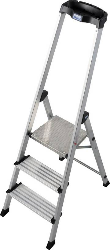 Komfortowa i lekka aluminiowa drabina wolnostojąca z wysokim pałąkiem zintegrowanym z ergonomiczną półką na narzędzia.