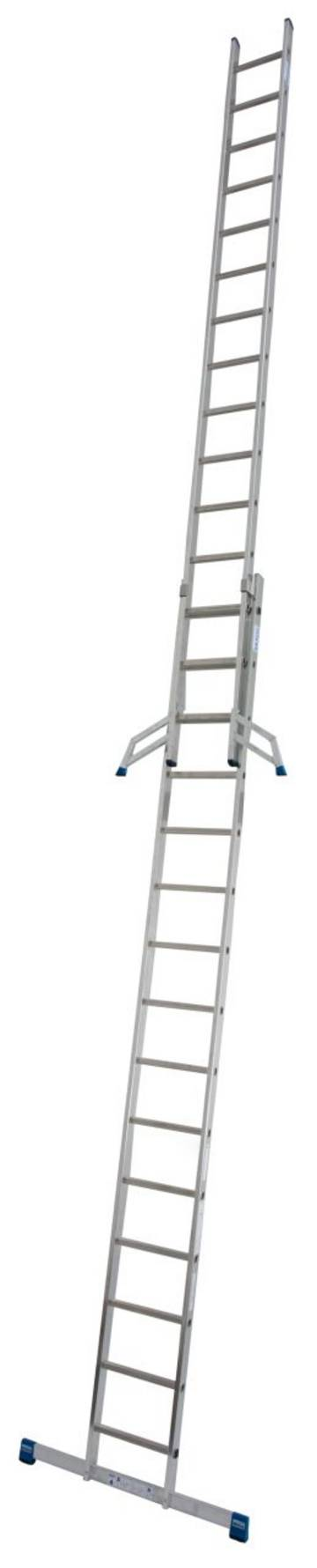 Stabilna rozsuwana drabina przystawna, składająca się z dwóch elementów, przeznaczona do profesjonalnego zastosowania.