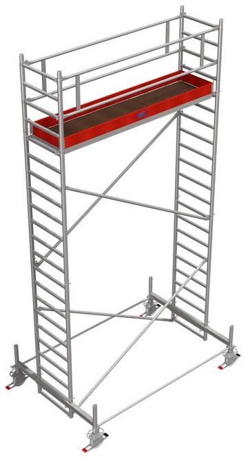 Profesjonalne rusztowanie aluminiowe z lekkim stabilizatorem wykonanym z aluminium.