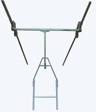 Aluminiowa drabina regałowa ze stopniami i zintegrowanym mechanizmem jezdnym do regałów podwójnych, z możliwością obracania