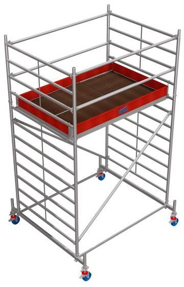Profesjonalne aluminiowe rusztowanie jezdne z podwójną powierzchnią roboczą.