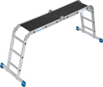Uniwersalna aluminiowa drabina przegubowa do zastosowania jako przystawna, wolnostojąca oraz dodatkowo jako pomost roboczy (w wersji 4x3 szczeble).