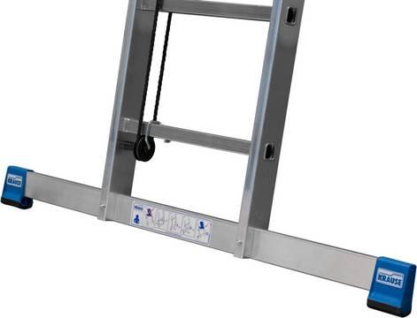 Drabina rozsuwana linką ze szczeblami , dwuelementowa - szeroki stabilizator dla większego bezpieczeństwa