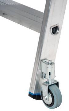 Drabina regałowa do przesuwania na prowadnicy o przekroju okrągłym - wytrzymałe, wpustowe połączenie podłużnic z profilowanymi, głębokimi na 80 mm stopniami zapewniającymi bezpieczne wejście i wygodną pracę