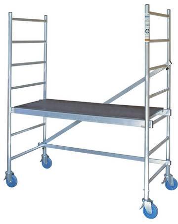 Przejezdne rusztowanie montażowe niewymagające narzędzi podczas składania, wykorzystywane do prac prowadzonych wewnątrz pomieszczeń.