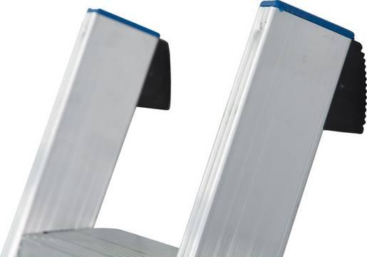 Drabina przystawna ze stopniami, jednoelementowa - bezpieczne użytkowanie dzięki zabezpieczeniu przed poślizgnięciem/zsunięciem się drabiny