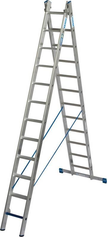 Lekka dwuelementowa drabina rozstawno-przystawna w połączeniu stopnni ze szczeblami do profesjonalnego wykorzystania jako wolnostojąca, przystawna lub drabina rozsuwana, do użytkowania ze stabilizatorem. Część drabiny ze stopniami może być również wykorzystywana jako miejsce krótkotrwałych prac. Dzięki nowemu, innowacyjnemu połączeniu stopni i szczebli w drabinie, w zależności od jej ustawienia może być wykorzystywana jako droga komunikacyjna oraz jako stanowisko do krótkotrwałych prac.