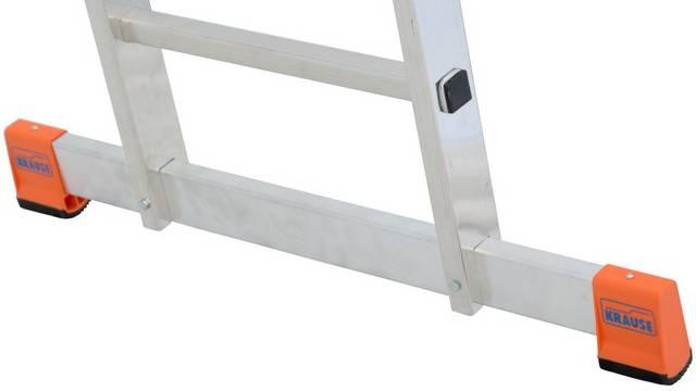 Uniwersalna drabina przegubowa MultiMatic. Dwa szerokie stabilizatory z antypoślizgowymi stopkami (SafetyCap)