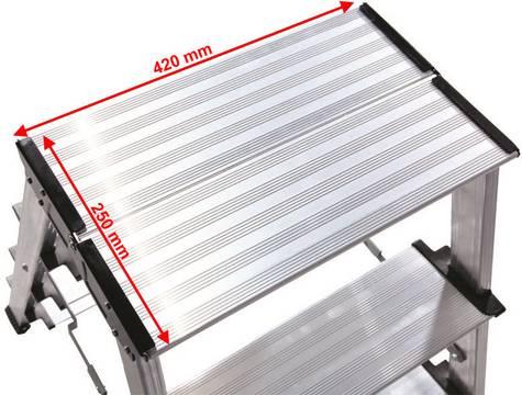 Schodki dwustronne składane Treppo - bardzo duża platforma robocza 420x250 mm zapewniająca wygodną pozycję