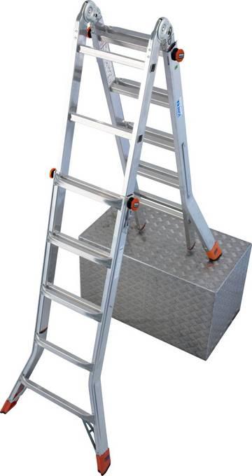 Drabina przegubowa teleskopowa z regulacją wysokości, która może być używana jako model przystawny, dwustronny wolnostojący, także z możliwością ustawienia na schodach, oraz jako pomost roboczy (w połączeniu z platformą TeleBoard).