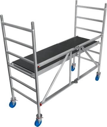 Profesjonalne składane rusztowanie aluminiowe do codziennych prac wewnątrz i na zewnątrz.
