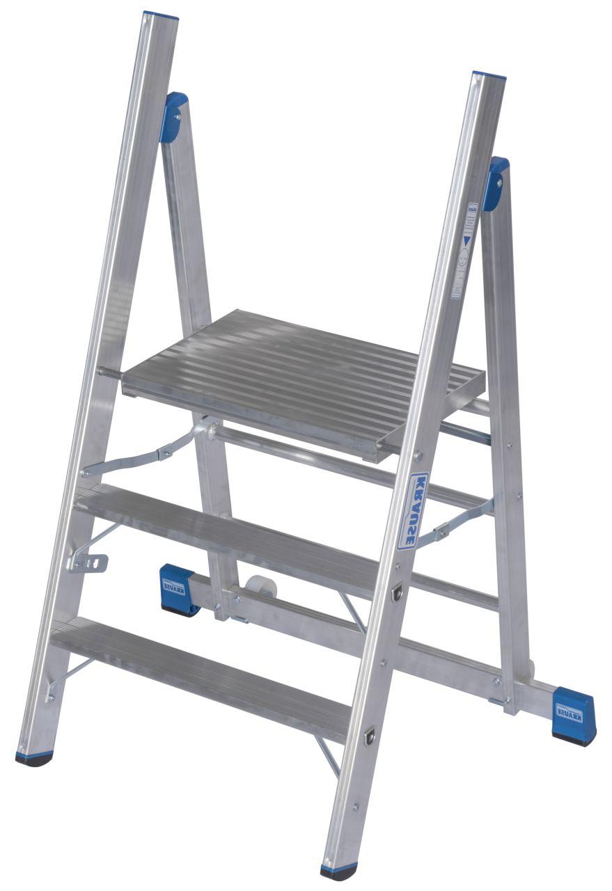 Schodki Profi. Jezdne schodki aluminiowe z dużą platformą, które dzięki pionowemu ustawieniu podłużnicy umożliwiają pracę w bliskiej odległości od obsługiwanego urządzenia.