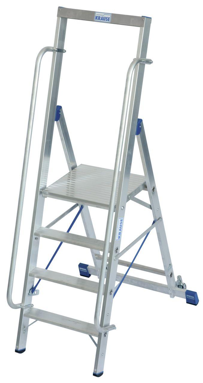 Drabina wolnostojąca z dużą platformą. Drabina jezdna z komfortową platformą roboczą  oraz pałąkiem bezpieczeństwa. Produkt przeznaczony do profesionalnego wykorzystania