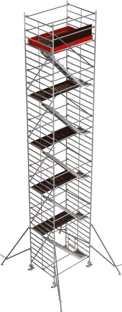 Rusztowanie jezdne Seria 5500. Profesjonalne aluminiowe rusztowanie z komfortowym wejściem schodami i podwójną powierzchnią roboczą.