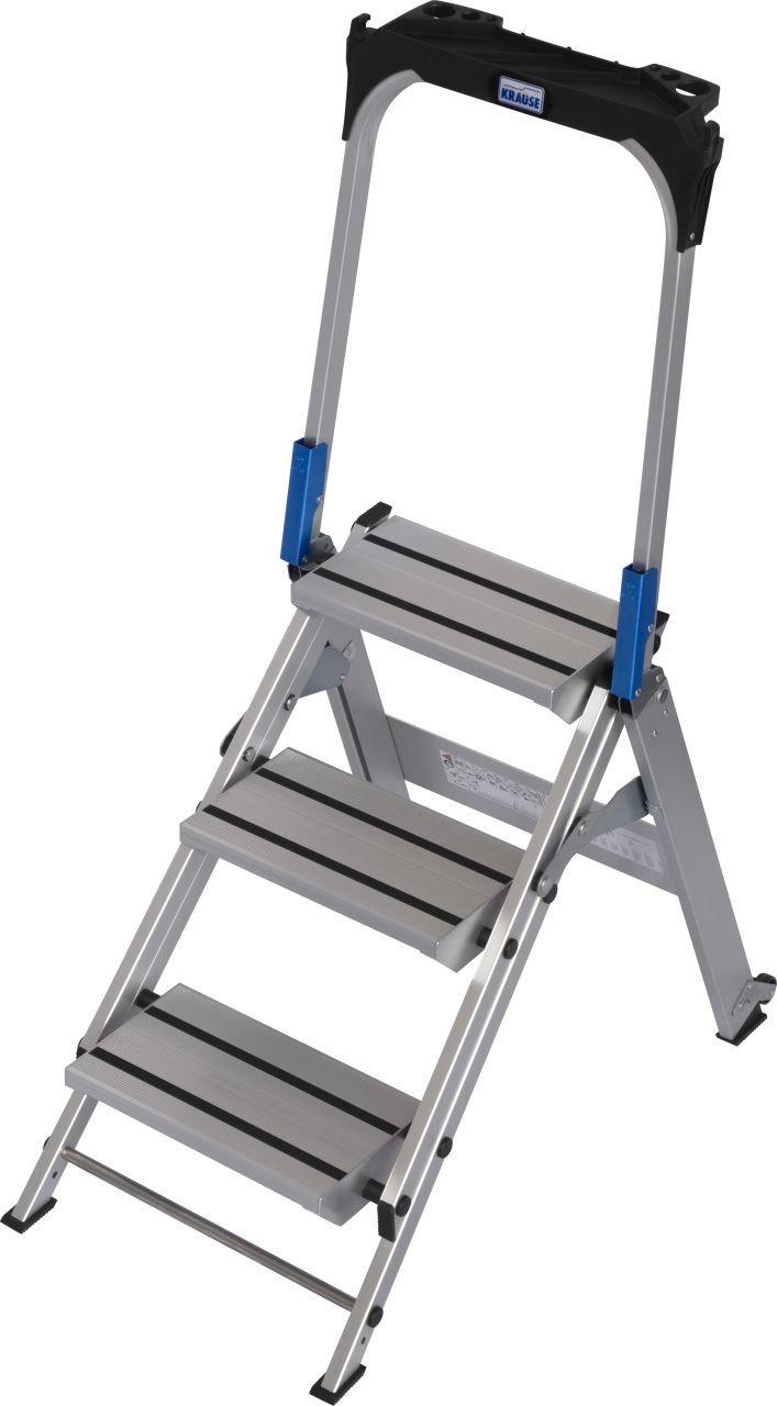 Schodki składane. Wytrzymałe, wygodne składane schodki aluminiowe z dużymi stopniami zapewniające wygodną i pewną postawę w czasie pracy.