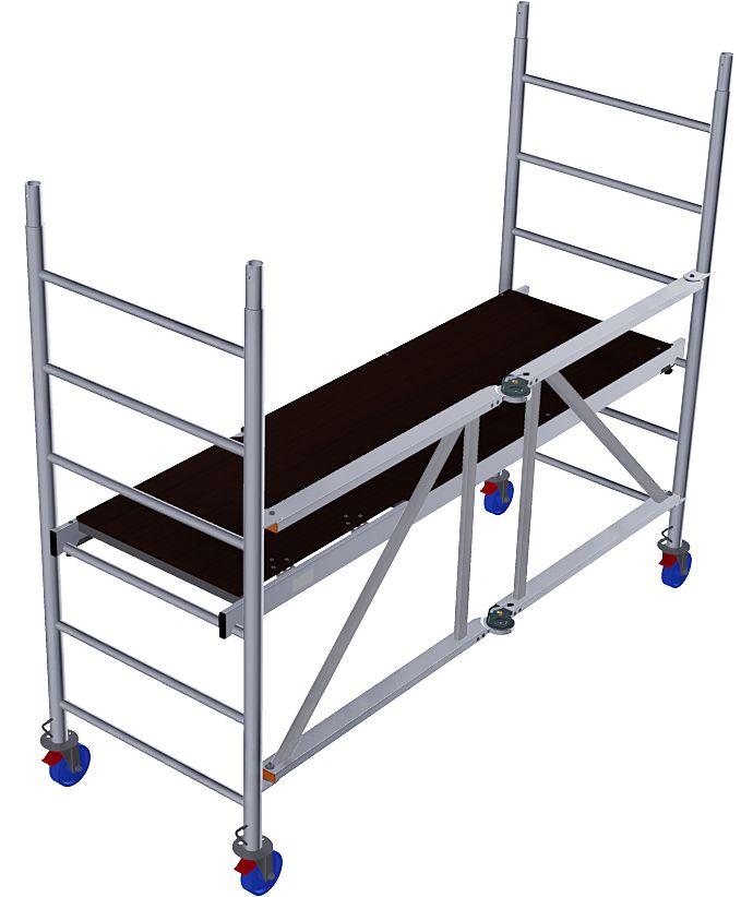 Aluminiowe rusztowanie jezdne składane - szybkie w montażu i łatwe w transporcie składane rusztowanie aluminiowe, wyposażone w rolki z hamulcem, do wykorzystania w pracach wewnątrz i na zewnątrz