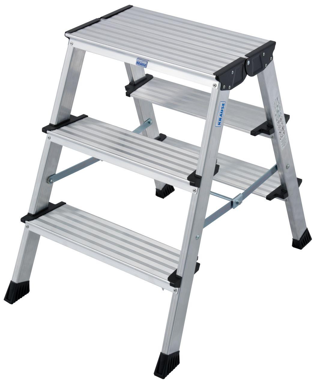 Schodki dwustronne składane Treppo. Wytrzymałe i kompaktowe aluminiowe schodki dwustronne do prac montażowych