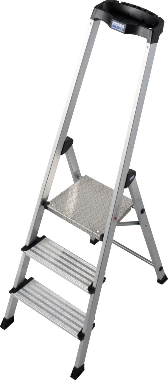 Drabina wolnostojąca ze stopniami Safety. Komfortowa i lekka aluminiowa drabina wolnostojąca z wysokim pałąkiem zintegrowanym z ergonomiczną półką na narzędzia