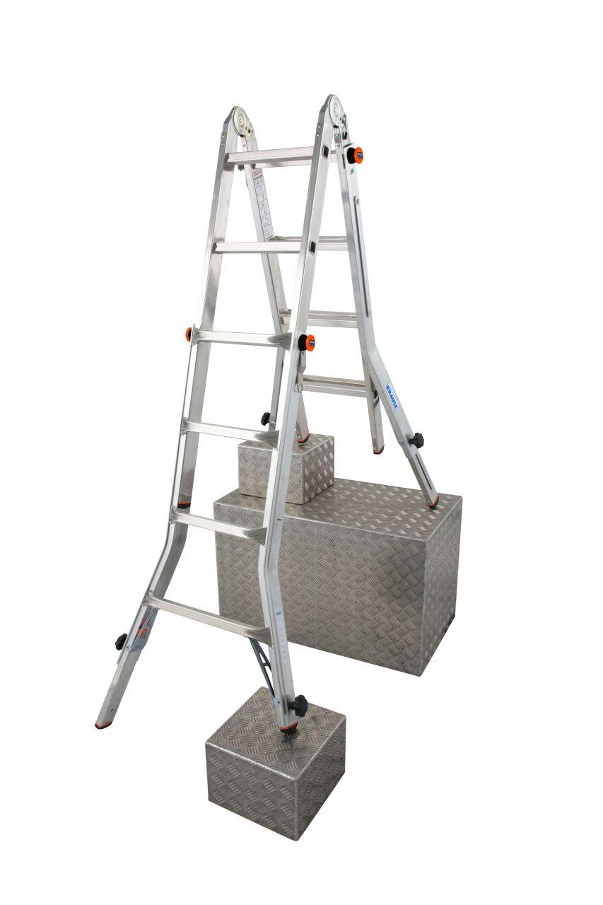 Drabina przegubowa teleskopowa z 4 regulowanymi nogami Televario. Prosta w obsłudze, z regulacją wysokości oraz możliwością użytkowania na schodach jako drabina wolnostojąca i przystawna oraz z funkcją platformy roboczej (w połączeniu z platformą TeleBoar