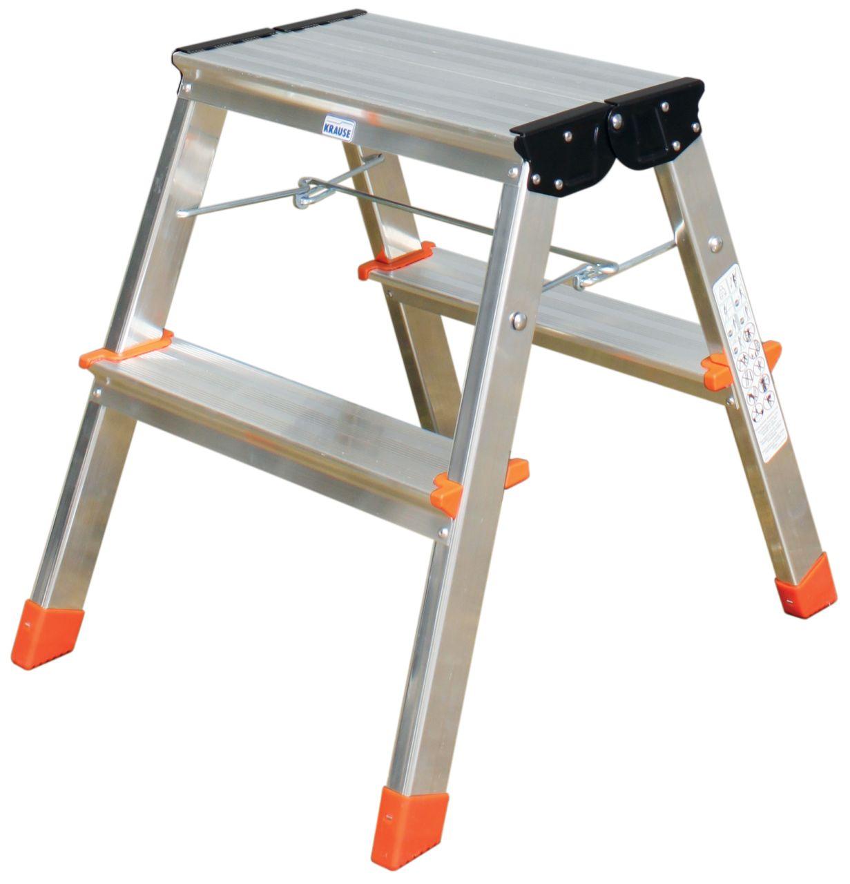 Schodki dwustronne składane Treppy. Lekkie, aluminiowe schodki dwustopniowe do prac na niedużej wysokości, oferujące wygodną platformę roboczą