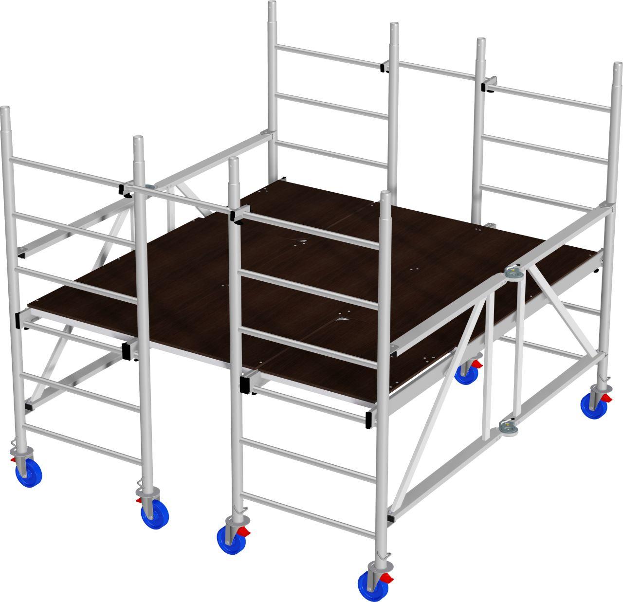 Aluminiowe rusztowanie jezdne z szeroką platformą - aluminiowe rusztowanie jezdne z dużą platformą roboczą, do prac prowadzonych wewnątrz, wyposażone w rolki jezdne z hamulcem