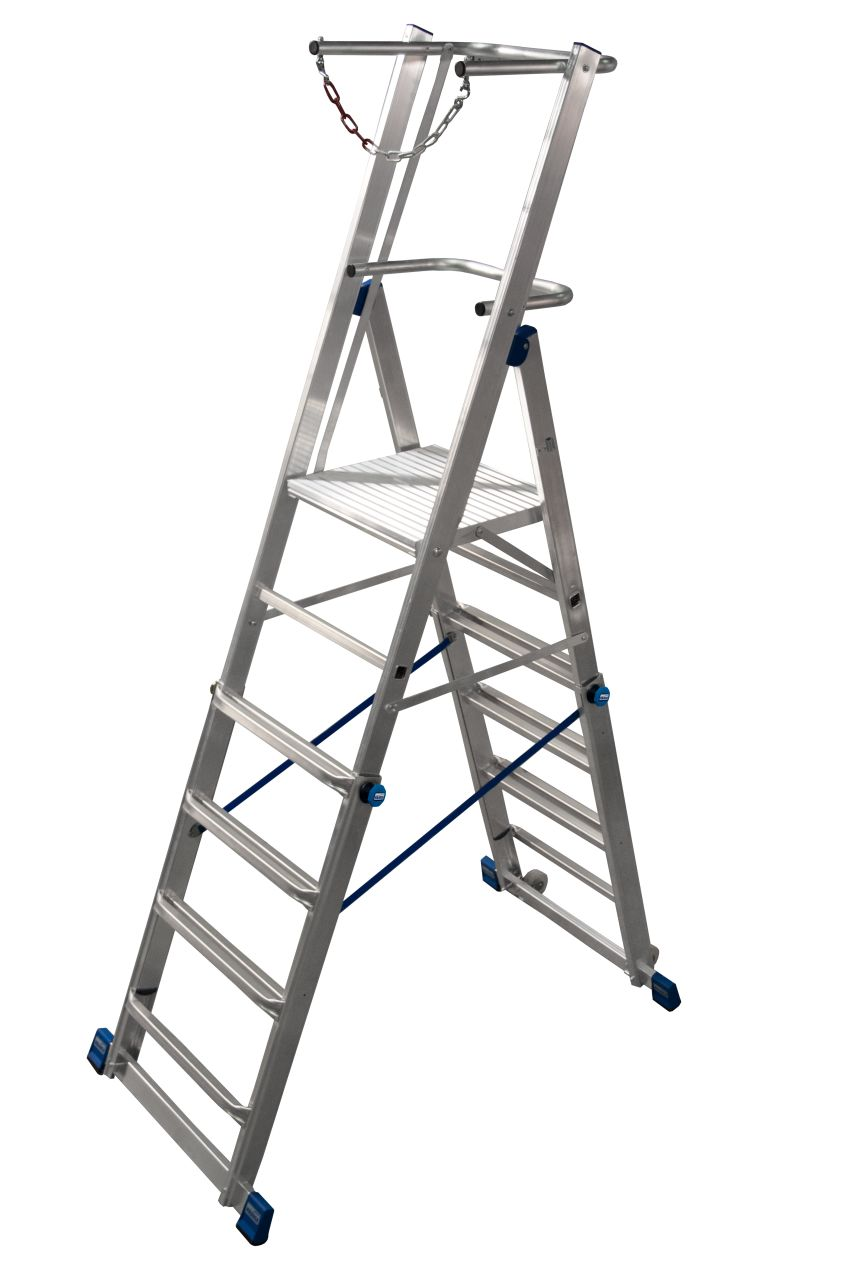 Drabina teleskopowa z platformą - lekka teleskopowa drabina wolnostojąca z dużą platformą o regulowanej wysokości, wyposażona w pałąk zabezpieczający w kształcie litery U oraz łańcuch gwarantujący użytkownikowi bezpieczeństwo i komfort, a także rolki jezd