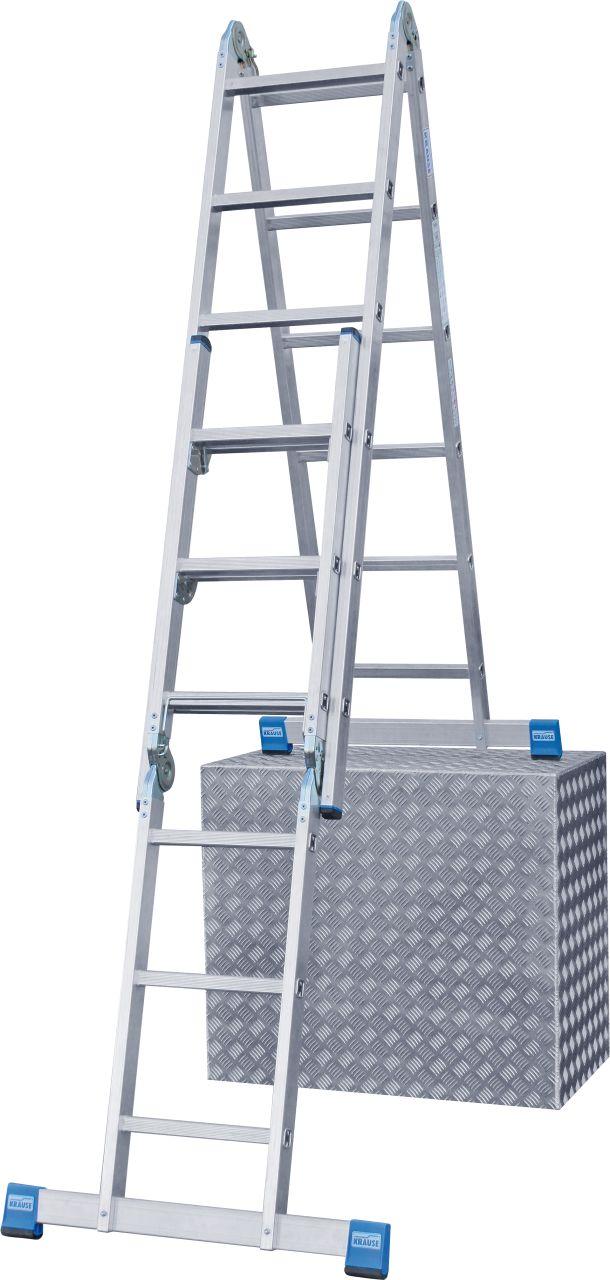 Drabina przegubowa ze szczeblami Combi. Wszechstronna aluminiowa drabina przegubowa do użytkowania jako przystawna, dwustronna wolnostojąca, także z możliwością ustawienia na schodach, wielofunkcyjna lub jako dwie osobne wolnostojące drabiny dwustronne -