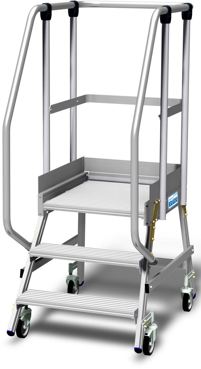 Jezdny podest roboczy z jednostronnym wejściem, powiększoną listwą przypodłogową i wydłużonymi barierkami wg. PN EN 131-7. Aluminiowy podest jezdny z jednostronnym wejściem, wyposażony w głębokie stopnie oraz dużą chronioną barierkami platformę roboczą o