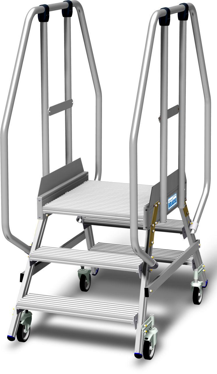Jezdny podest roboczy z dwustronnym wejściem, powiększoną listwą przypodłogową i wydłużonymi barierkami wg. PN EN 131-7. Aluminiowy podest jezdny z jednostronnym wejściem, wyposażony w głębokie stopnie oraz dużą chronioną barierkami platformę roboczą o wy