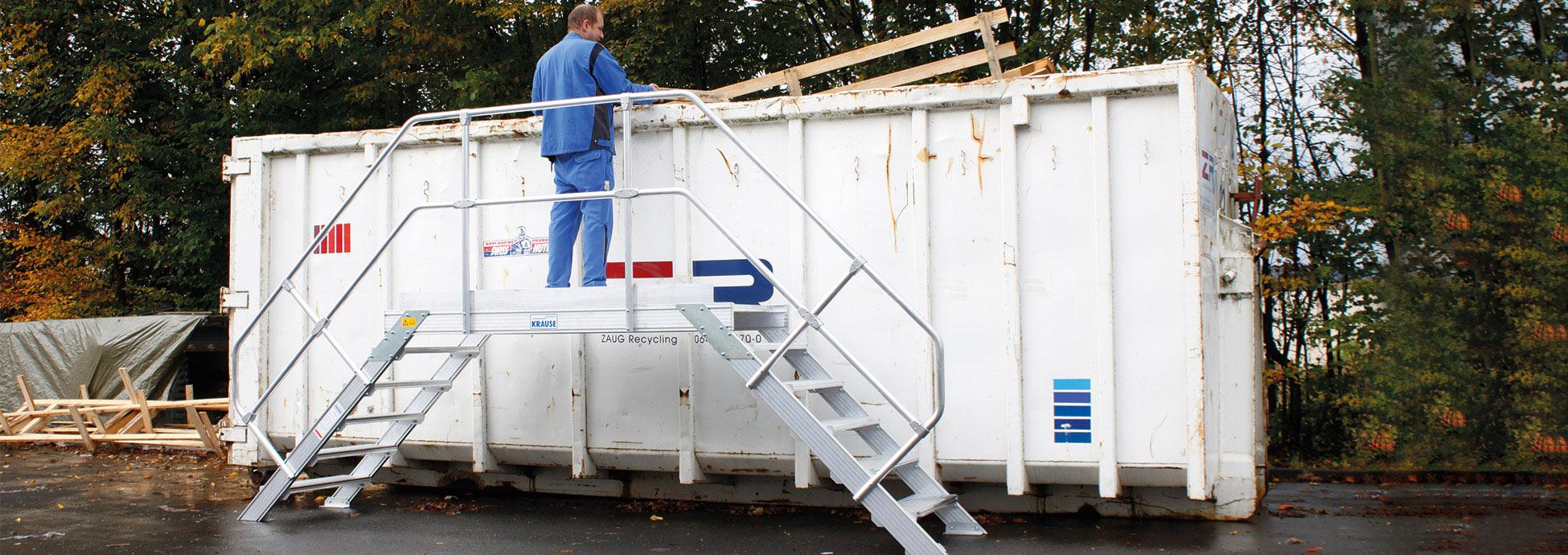 Konstrukcje specjalne, schodki montażowe i podesty gospodarce odpadami