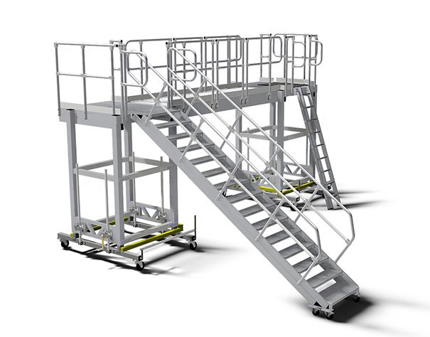 Jezdna platforma robocza z wejściem po schodach