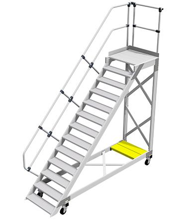 Przykład schodów jezdnych z platformą roboczą